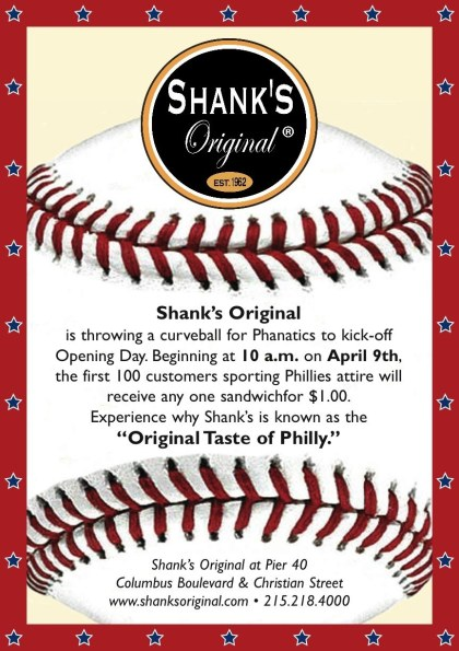 Shank's Original- $1 Sandwiches on Phillies Opening Day